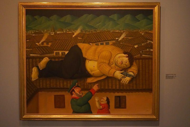 """""""Pablo Escobar muerto"""", 2006. Obra de Fernando Botero en el Museo de Antioquia"""