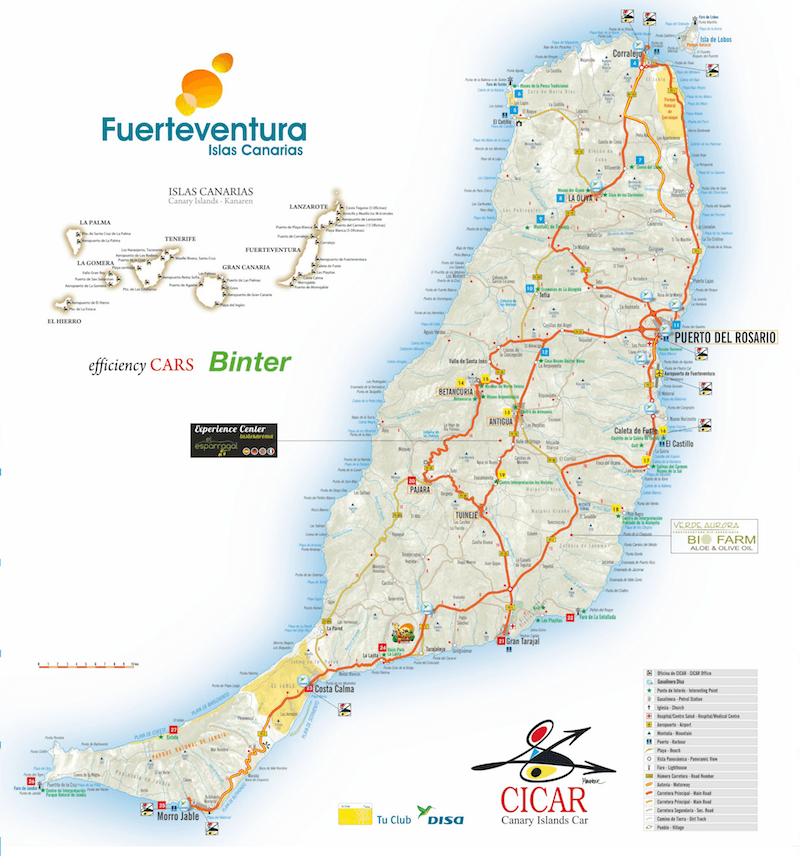 Mapa turístico Fuerteventura